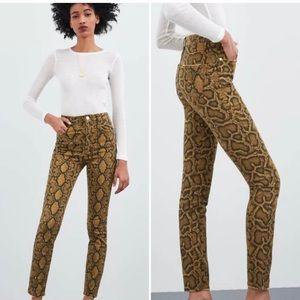 Zara pants snake print high waisted skinny jeans